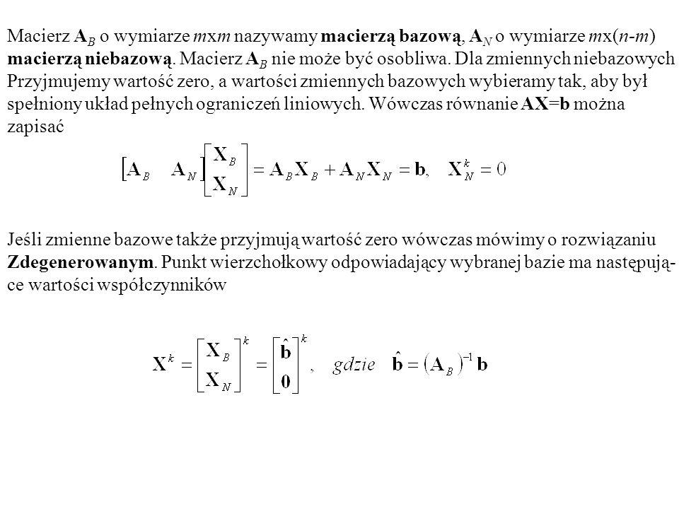Macierz AB o wymiarze mxm nazywamy macierzą bazową, AN o wymiarze mx(n-m)
