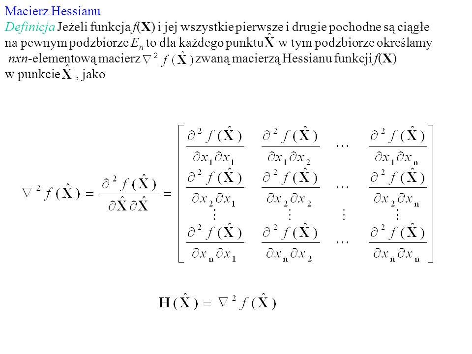 Macierz Hessianu Definicja Jeżeli funkcja f(X) i jej wszystkie pierwsze i drugie pochodne są ciągłe.