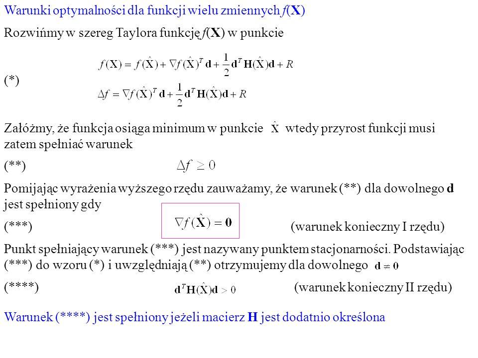 Warunki optymalności dla funkcji wielu zmiennych f(X)