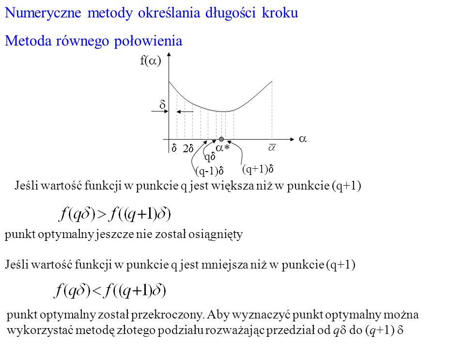 Numeryczne metody określania długości kroku Metoda równego połowienia