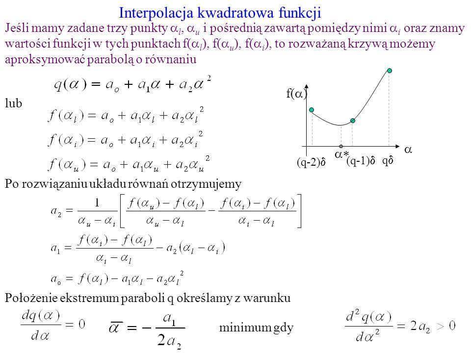 Interpolacja kwadratowa funkcji
