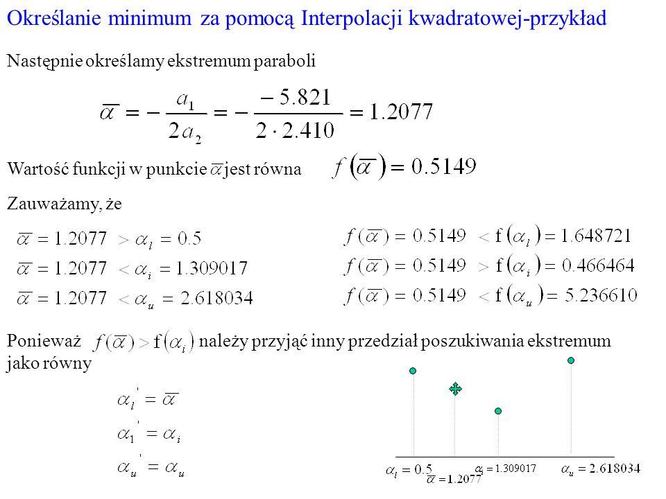 Określanie minimum za pomocą Interpolacji kwadratowej-przykład