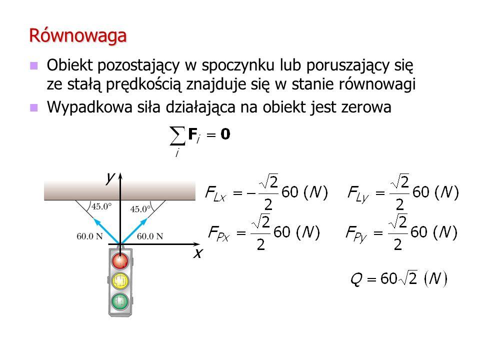 Równowaga Obiekt pozostający w spoczynku lub poruszający się ze stałą prędkością znajduje się w stanie równowagi.