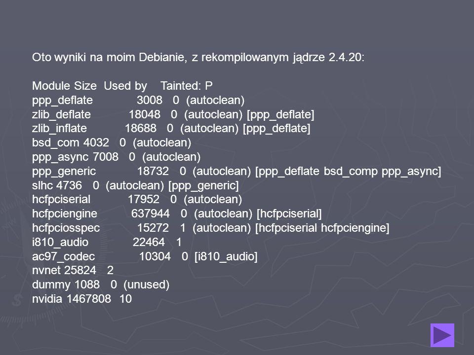Oto wyniki na moim Debianie, z rekompilowanym jądrze 2. 4