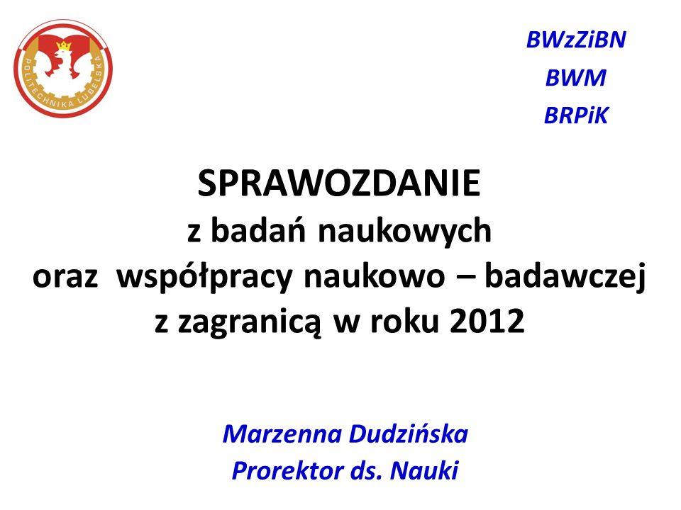 Marzenna Dudzińska Prorektor ds. Nauki