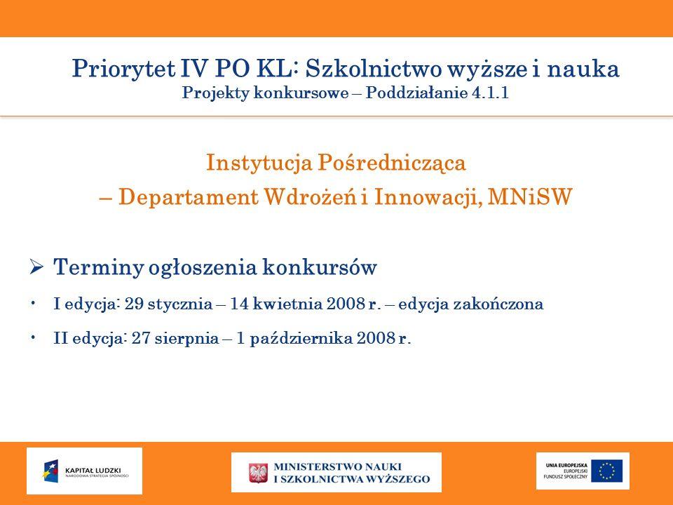 Instytucja Pośrednicząca – Departament Wdrożeń i Innowacji, MNiSW