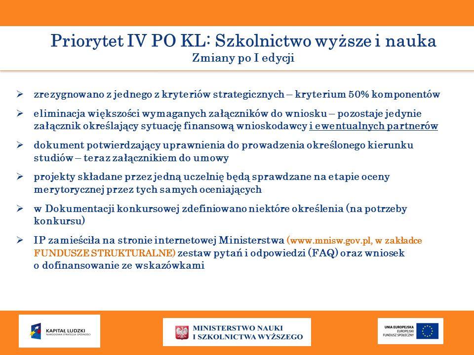 Priorytet IV PO KL: Szkolnictwo wyższe i nauka Zmiany po I edycji