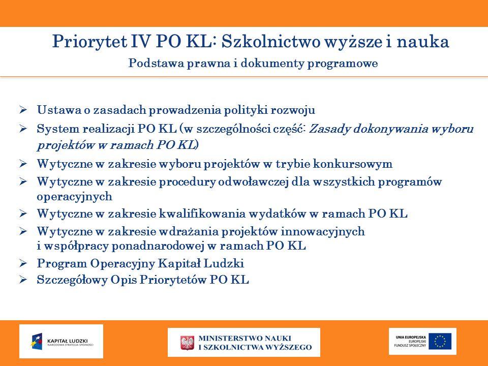 Priorytet IV PO KL: Szkolnictwo wyższe i nauka Podstawa prawna i dokumenty programowe