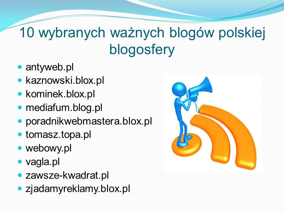 10 wybranych ważnych blogów polskiej blogosfery