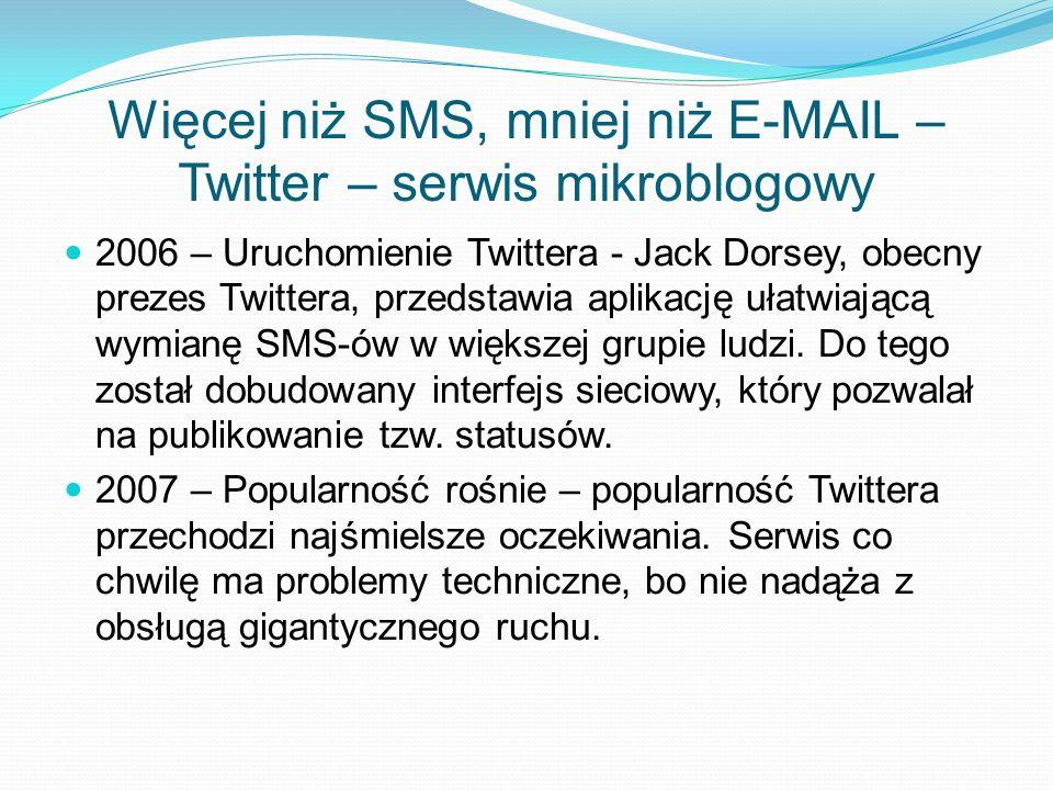 Więcej niż SMS, mniej niż E-MAIL – Twitter – serwis mikroblogowy