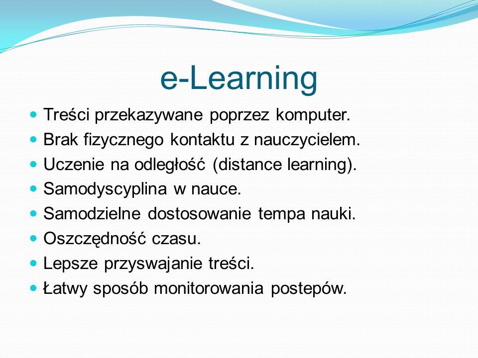 e-Learning Treści przekazywane poprzez komputer.