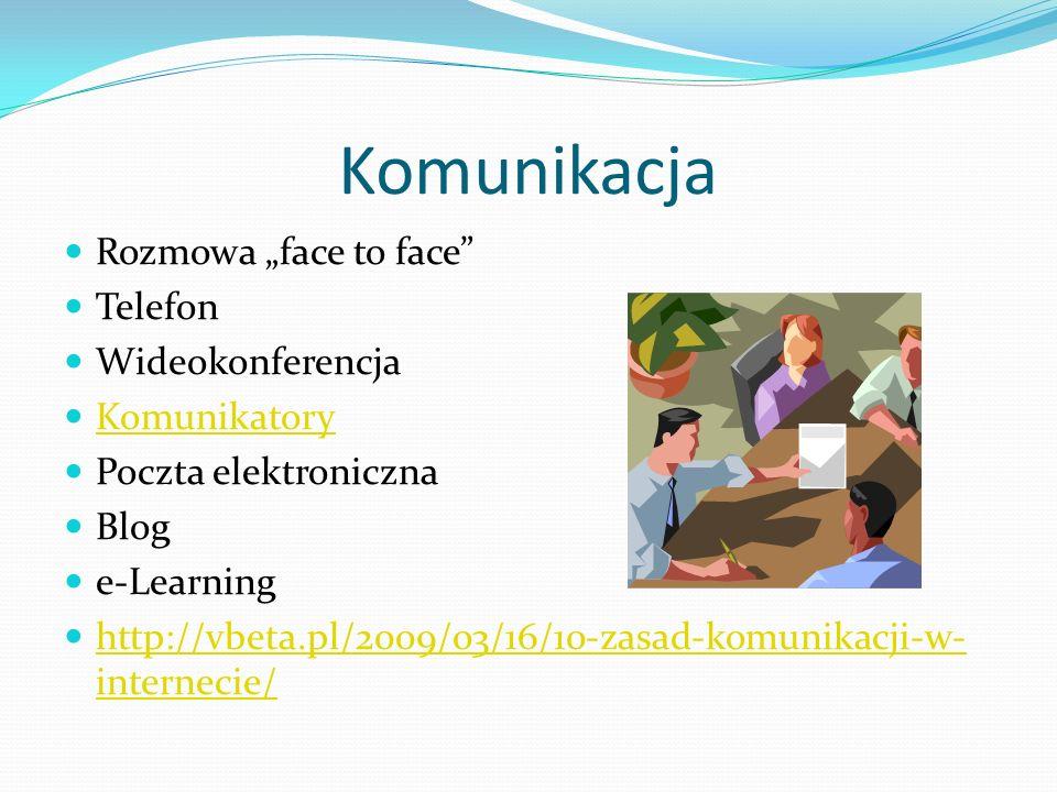 "Komunikacja Rozmowa ""face to face Telefon Wideokonferencja"