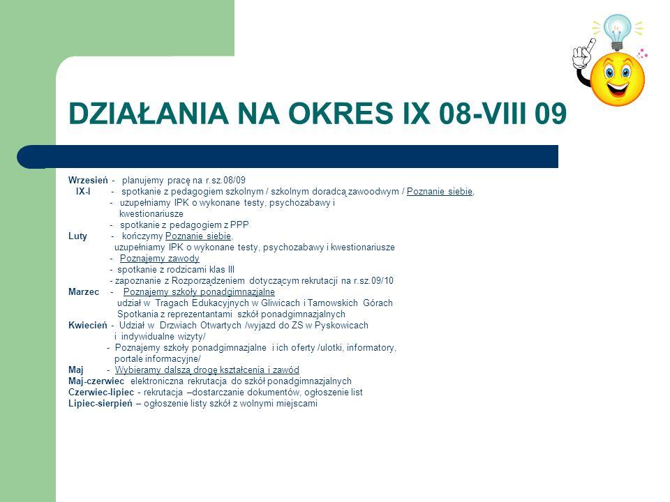 DZIAŁANIA NA OKRES IX 08-VIII 09