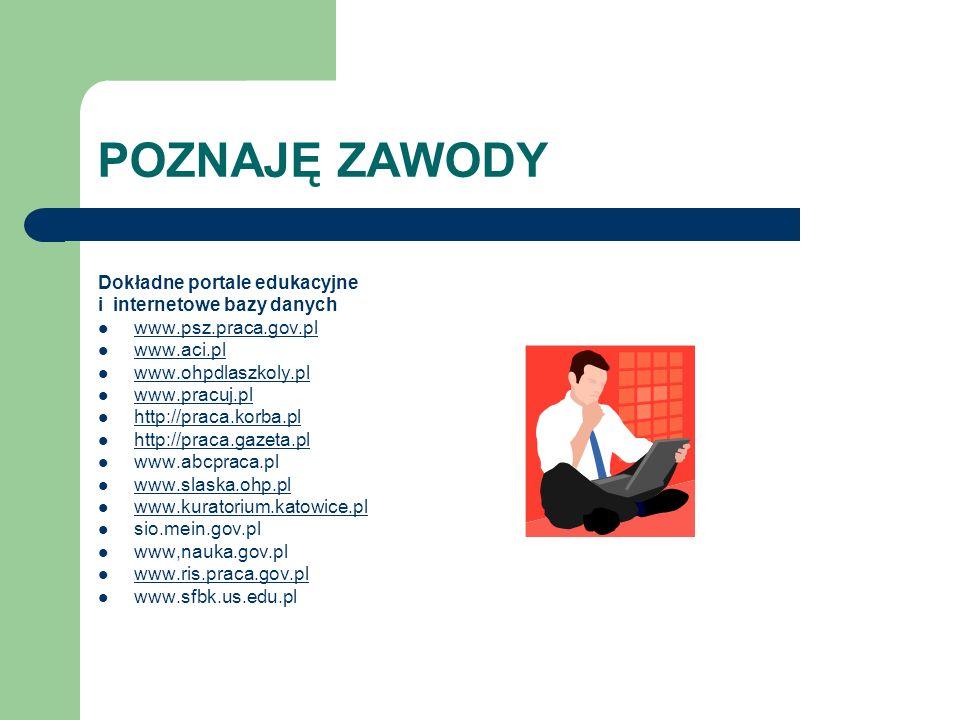 POZNAJĘ ZAWODY Dokładne portale edukacyjne i internetowe bazy danych