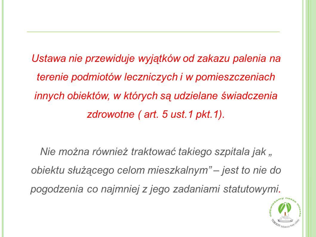 Ustawa nie przewiduje wyjątków od zakazu palenia na terenie podmiotów leczniczych i w pomieszczeniach innych obiektów, w których są udzielane świadczenia zdrowotne ( art. 5 ust.1 pkt.1).
