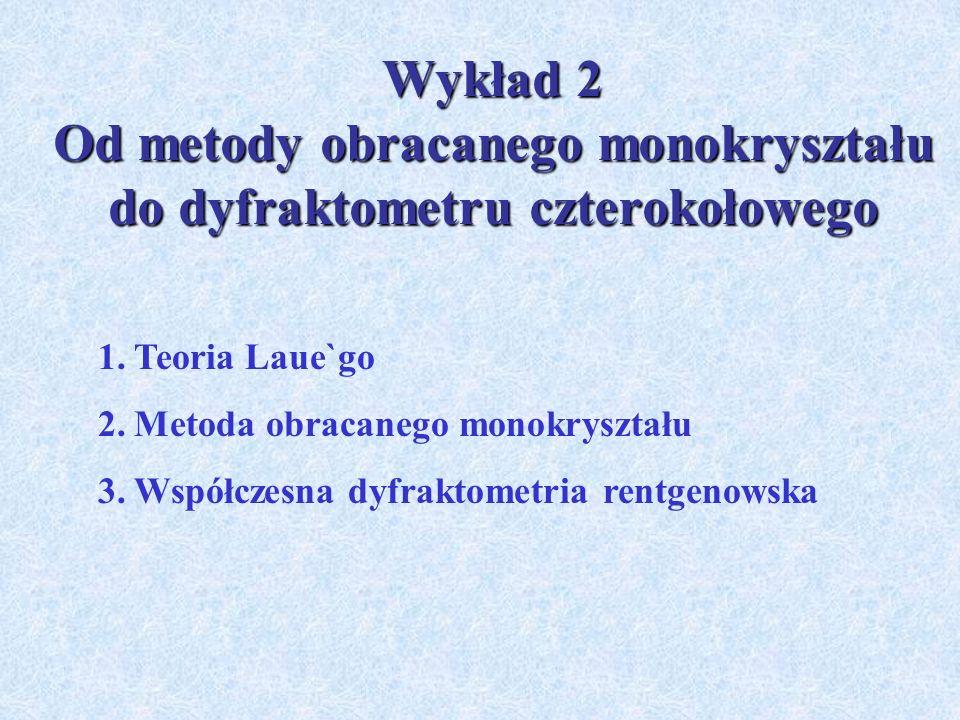Wykład 2 Od metody obracanego monokryształu do dyfraktometru czterokołowego