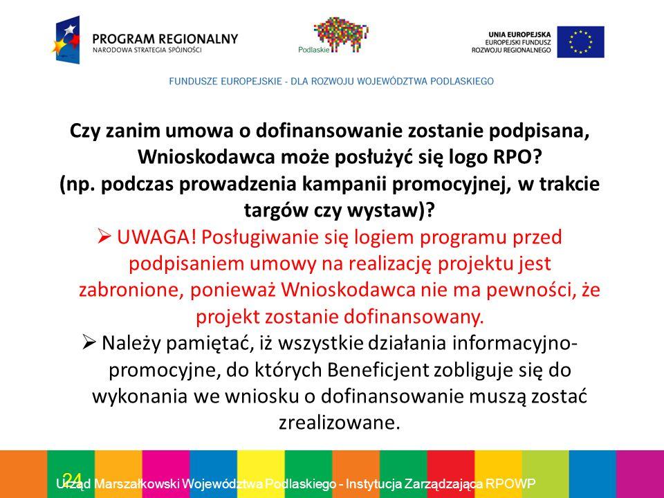 Czy zanim umowa o dofinansowanie zostanie podpisana, Wnioskodawca może posłużyć się logo RPO