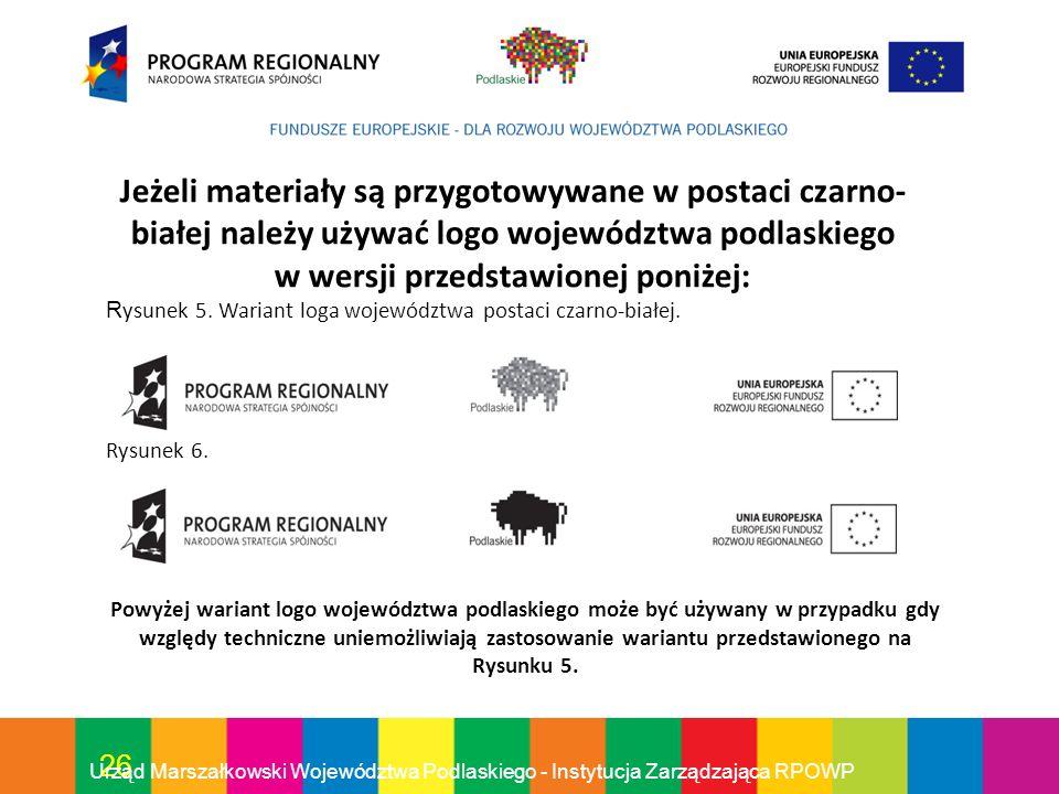 Jeżeli materiały są przygotowywane w postaci czarno-białej należy używać logo województwa podlaskiego w wersji przedstawionej poniżej: