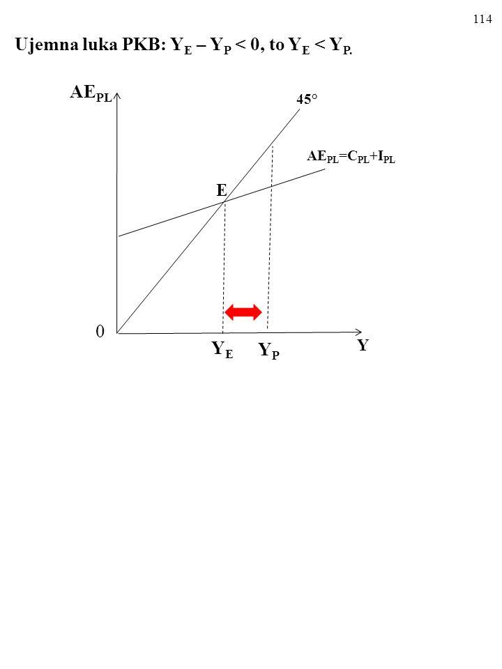 E Ujemna luka PKB: YE – YP < 0, to YE < YP. AEPL YE YP Y 45°
