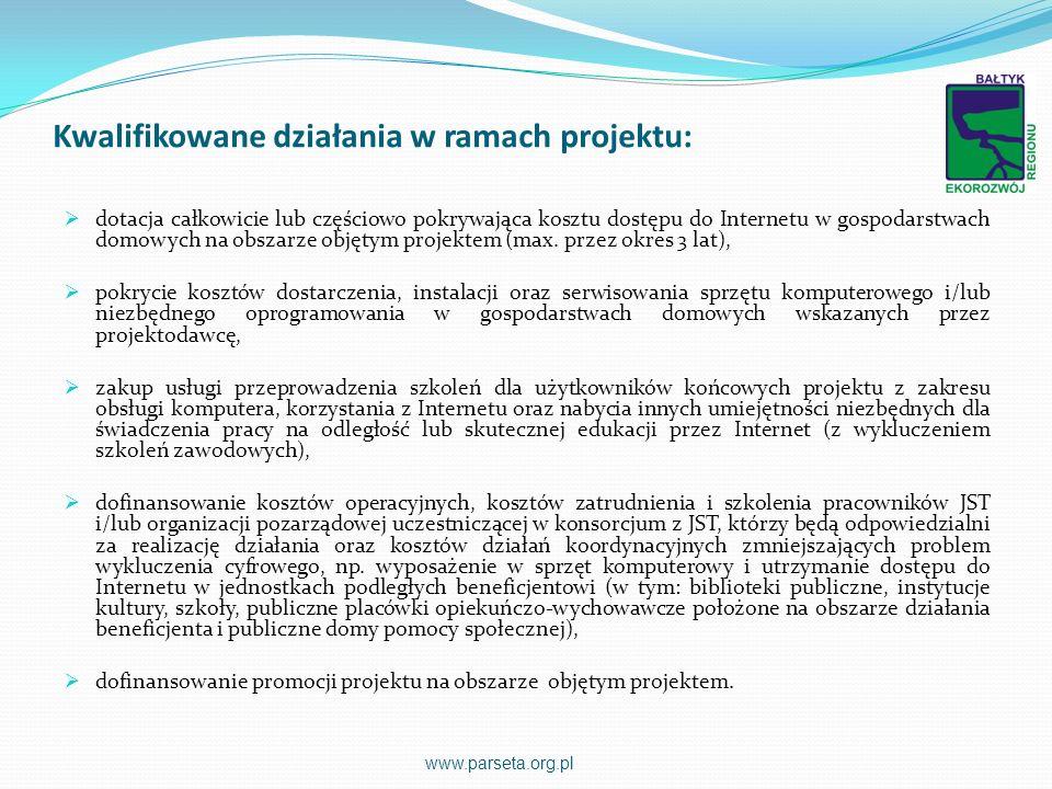 Kwalifikowane działania w ramach projektu:
