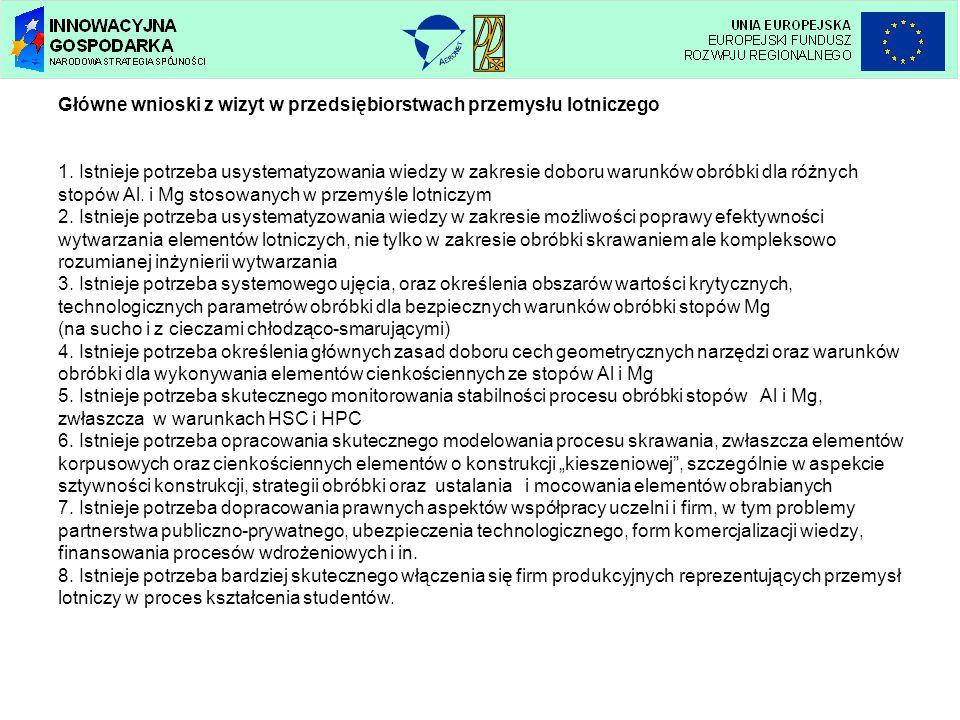 Główne wnioski z wizyt w przedsiębiorstwach przemysłu lotniczego 1