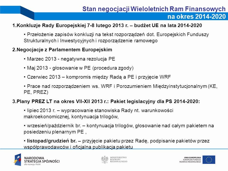 Stan negocjacji Wieloletnich Ram Finansowych na okres 2014-2020