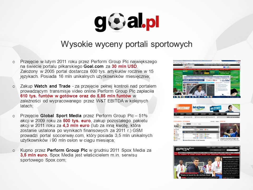 Wysokie wyceny portali sportowych