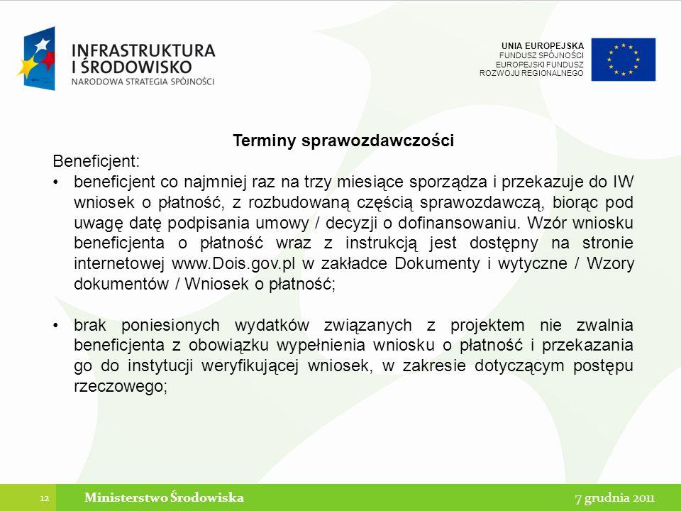 Terminy sprawozdawczości Ministerstwo Środowiska