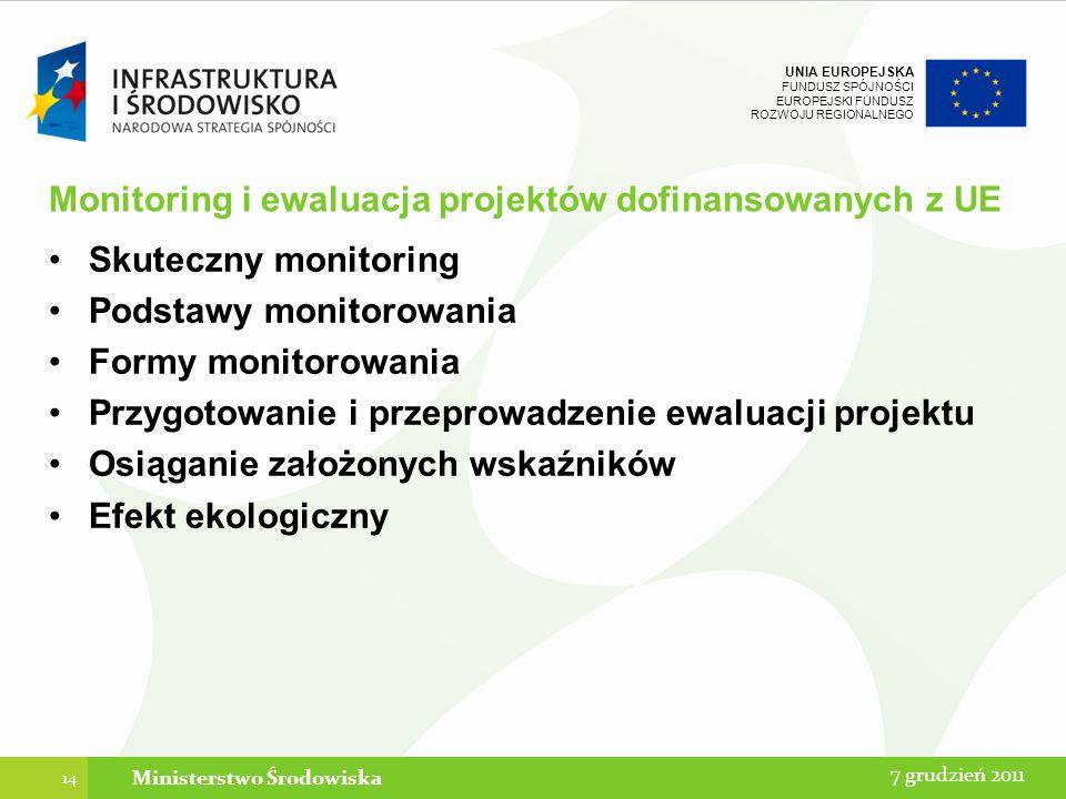 Monitoring i ewaluacja projektów dofinansowanych z UE