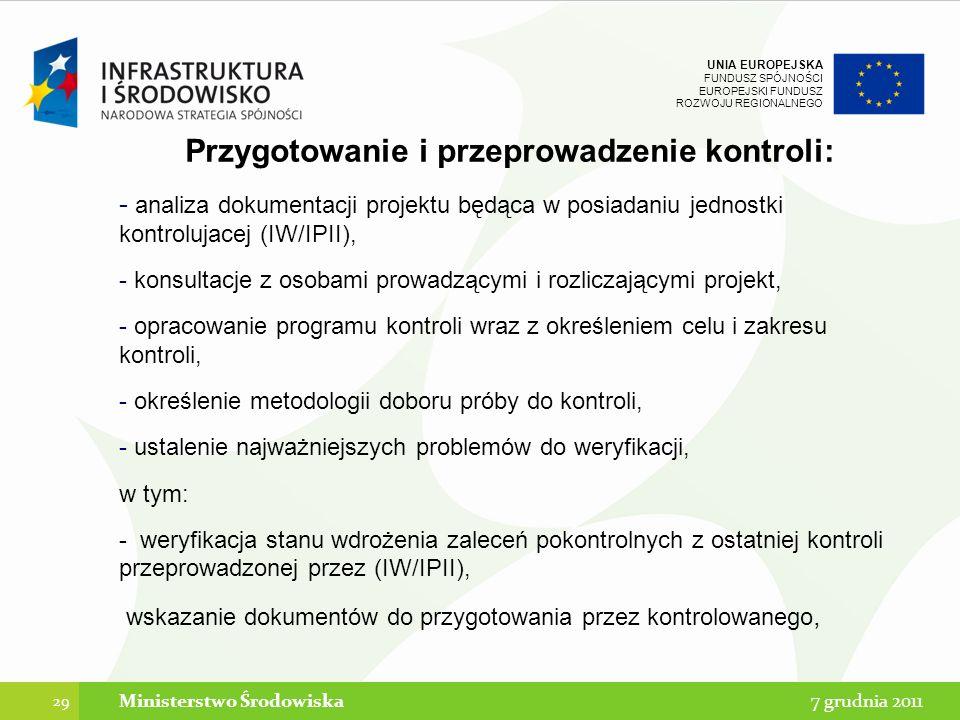 Przygotowanie i przeprowadzenie kontroli: Ministerstwo Środowiska