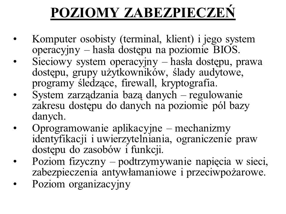 POZIOMY ZABEZPIECZEŃ Komputer osobisty (terminal, klient) i jego system operacyjny – hasła dostępu na poziomie BIOS.