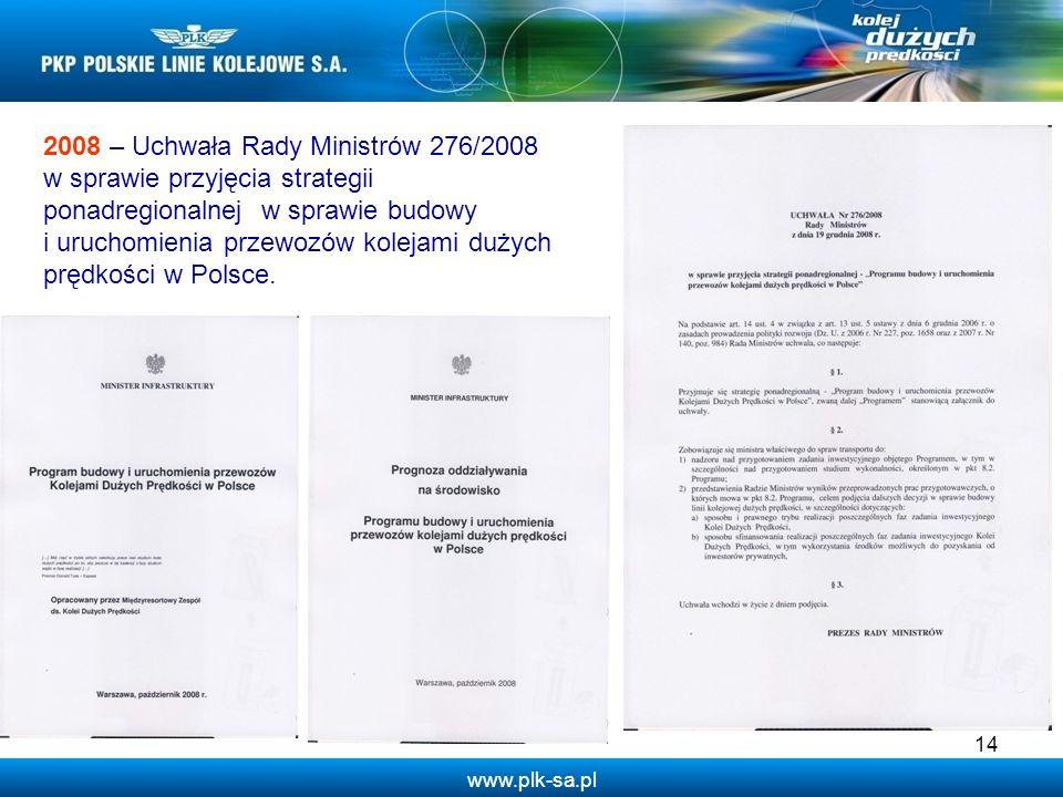 2008 – Uchwała Rady Ministrów 276/2008 w sprawie przyjęcia strategii ponadregionalnej w sprawie budowy i uruchomienia przewozów kolejami dużych prędkości w Polsce.