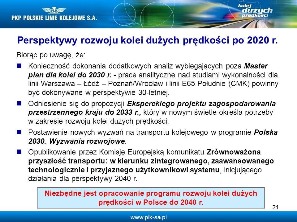Perspektywy rozwoju kolei dużych prędkości po 2020 r.