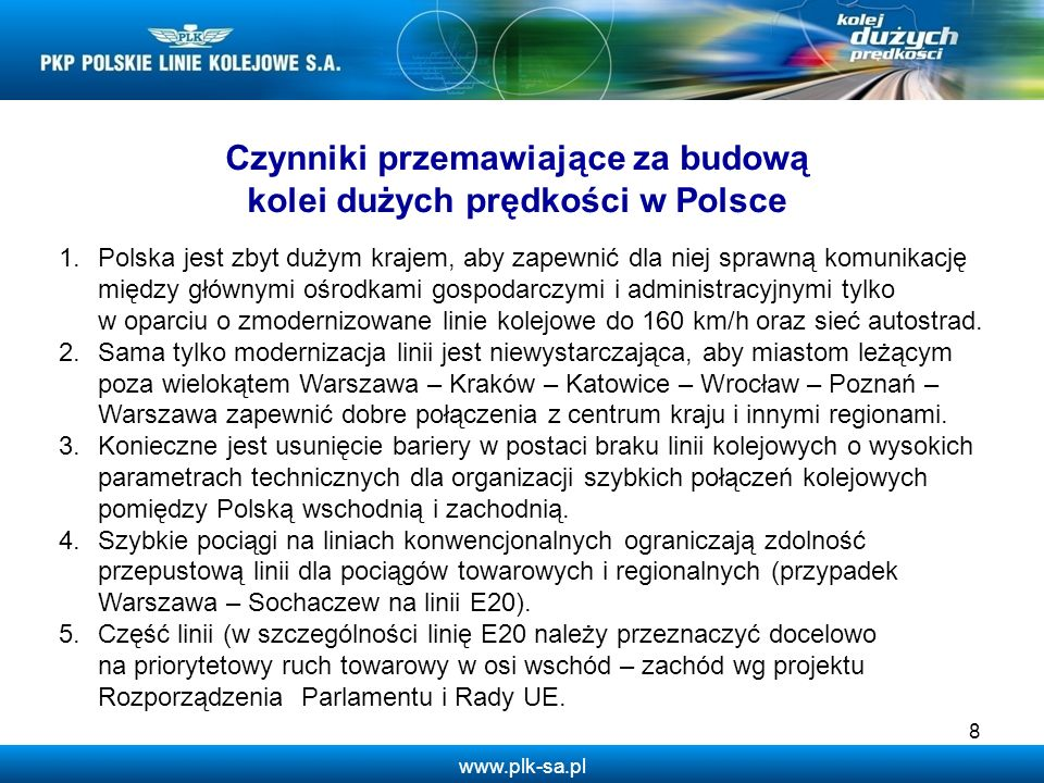 Czynniki przemawiające za budową kolei dużych prędkości w Polsce