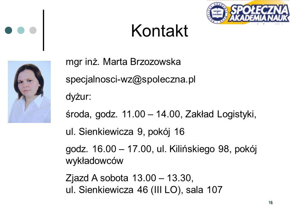 Kontakt mgr inż. Marta Brzozowska specjalnosci-wz@spoleczna.pl dyżur: