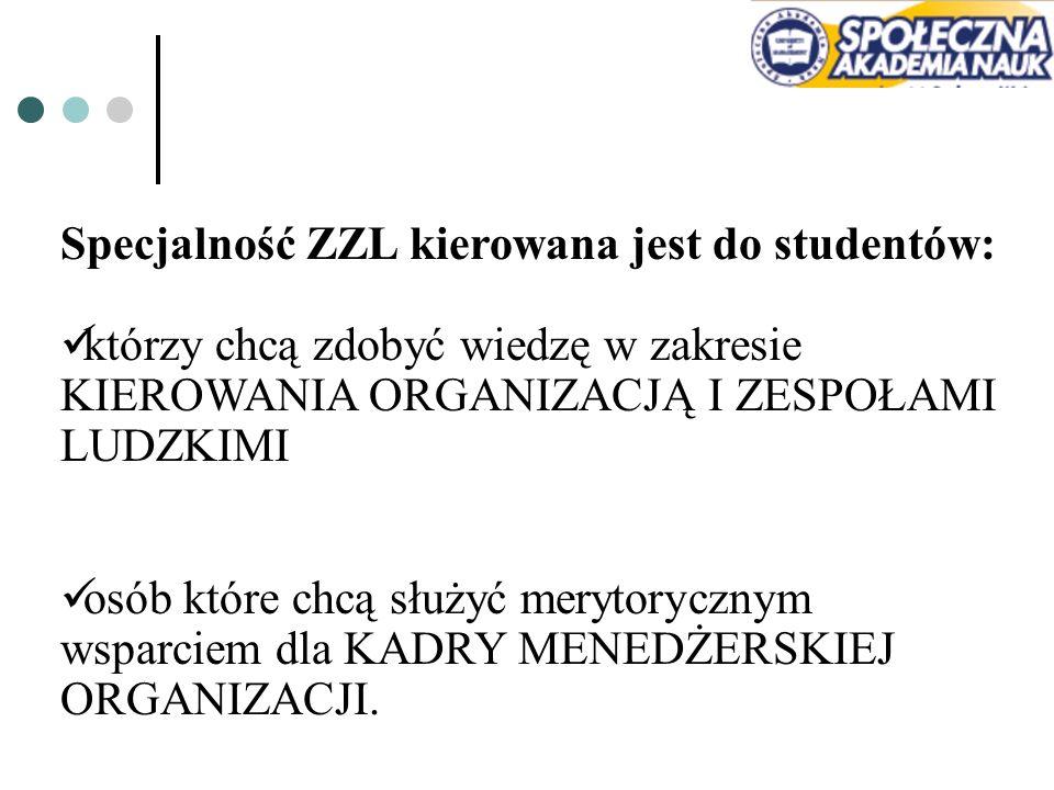 Specjalność ZZL kierowana jest do studentów: