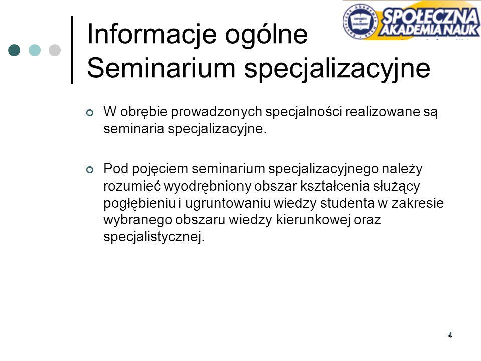 Informacje ogólne Seminarium specjalizacyjne