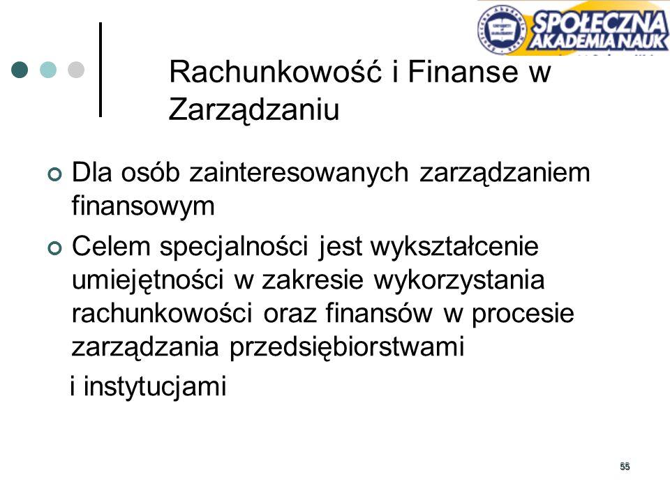 Rachunkowość i Finanse w Zarządzaniu