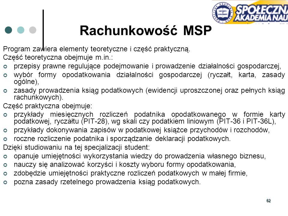 Rachunkowość MSP Program zawiera elementy teoretyczne i część praktyczną. Część teoretyczna obejmuje m.in.: