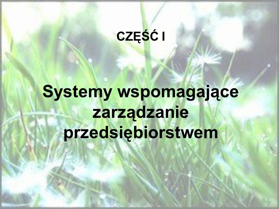 CZĘŚĆ I Systemy wspomagające zarządzanie przedsiębiorstwem