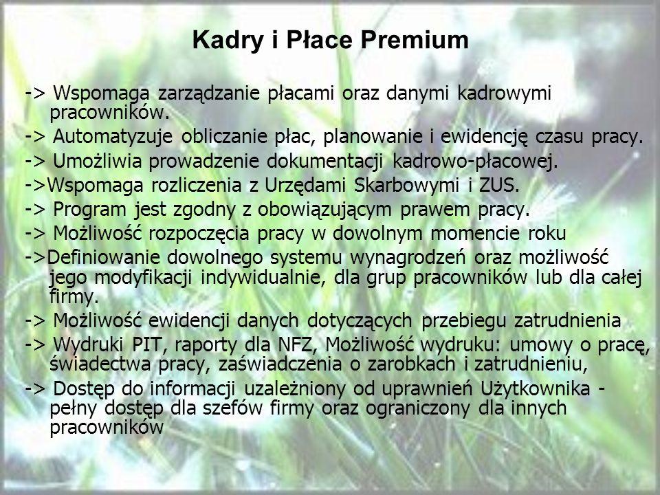 Kadry i Płace Premium -> Wspomaga zarządzanie płacami oraz danymi kadrowymi pracowników.