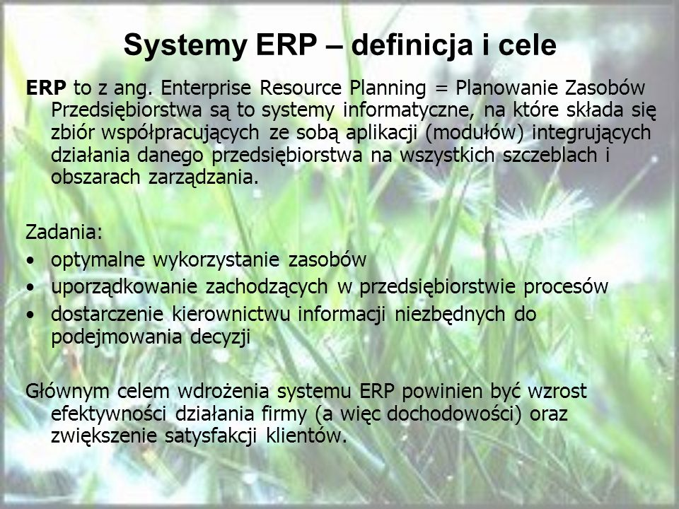 Systemy ERP – definicja i cele