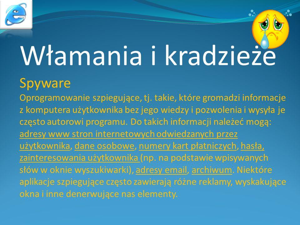 Włamania i kradzieże Spyware