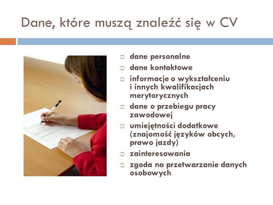Dane, które muszą znaleźć się w CV