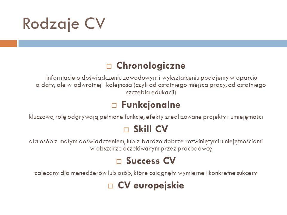 Rodzaje CV Chronologiczne Funkcjonalne Skill CV Success CV