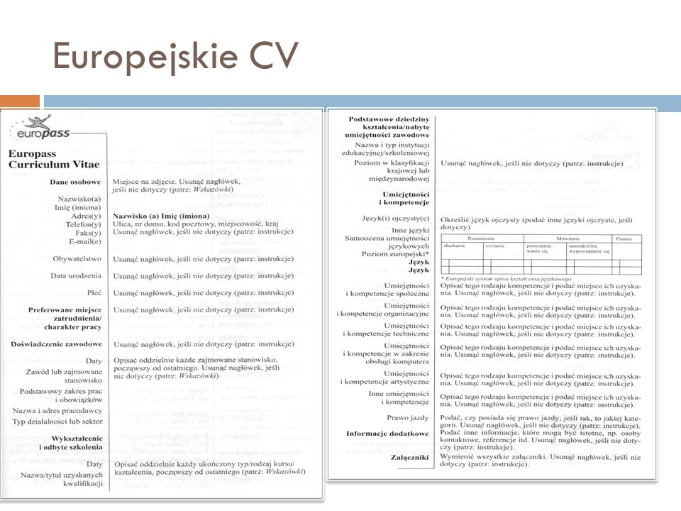 Europejskie CV