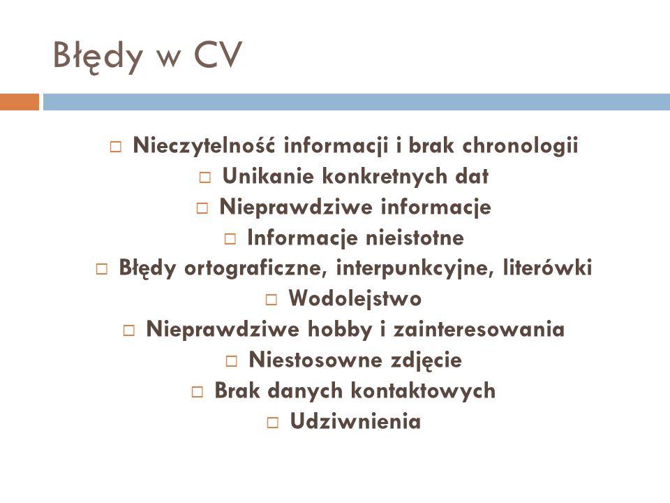 Błędy w CV Nieczytelność informacji i brak chronologii