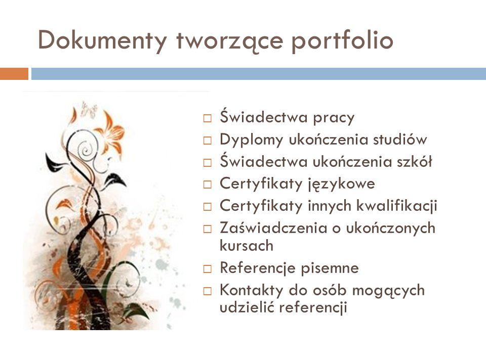 Dokumenty tworzące portfolio