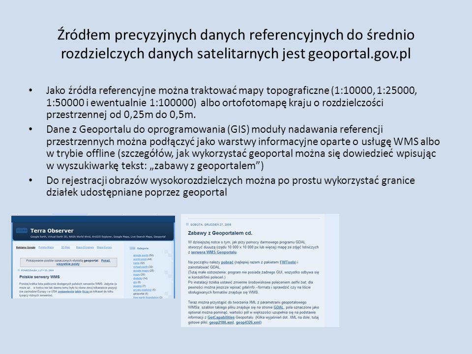 Źródłem precyzyjnych danych referencyjnych do średnio rozdzielczych danych satelitarnych jest geoportal.gov.pl