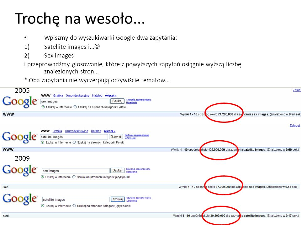 Trochę na wesoło...Wpiszmy do wyszukiwarki Google dwa zapytania: Satellite images i... Sex images.